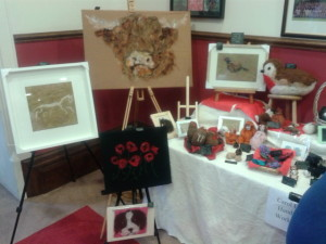 Pinewood christmas fair featuring Carol's latest work: a  Highland Cow
