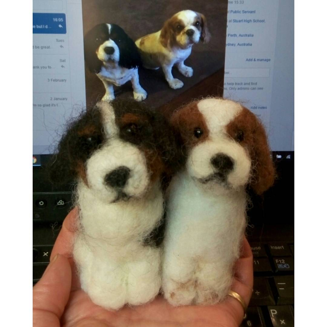 """My sister is going to love these! Her dogs sadly had to be put down so thank you so much for making these cute replicas for her"" Margaret #dogs #cavalier #feltart"