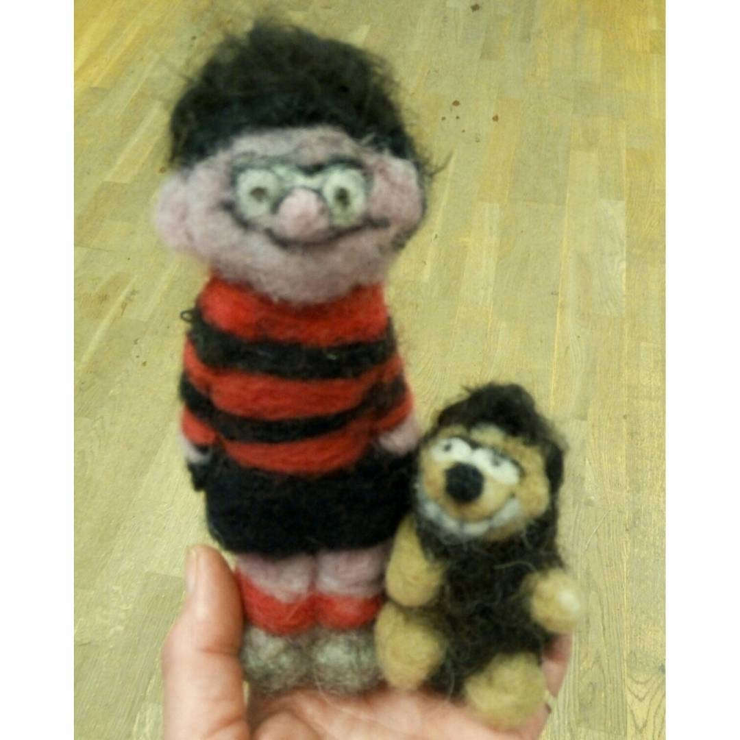 "Dennis the Menace and Gnasher ""My brother is going to love them, thanks!"" Susan  #feltart #beano"