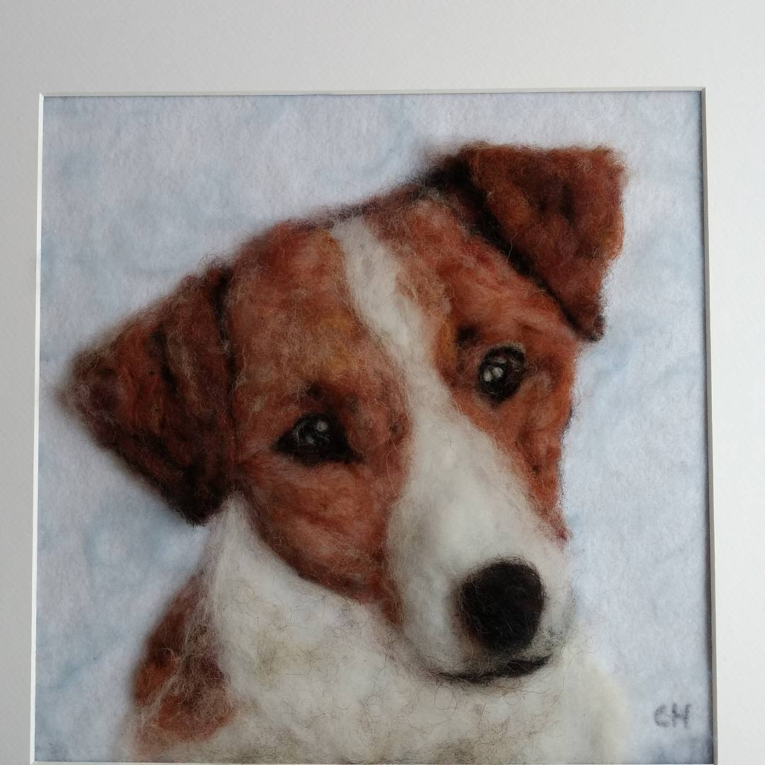 """This is just like William! It's lovely, thank you for making this for my son"" Colin  #feltdog #3dart #3d #jackrussell #jackrussellterrier #needlefelting #dog #puppy"