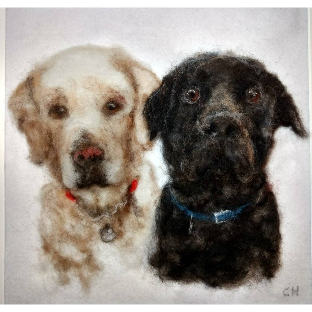 "Flo and Ollie: ""Carol, this is truly amazing, I am overwhelmed. It's just a wonderful picture of them"" Jenny #3d #dogs #lab #blacklab #needlefelt"