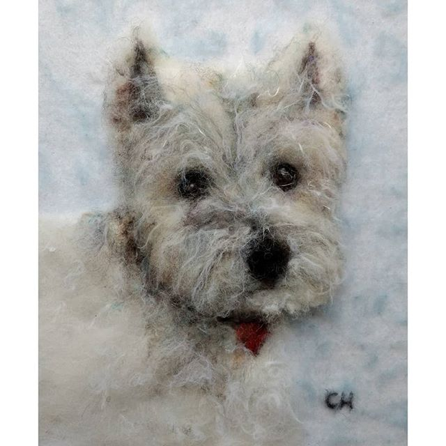 "Hamish: ""Delivered Hamish to Colin. He had a tear or two. Thank you for bringing Hamish home "" Elizabeth #westhighlandwhiteterrier #westie #needlefelting #dog"