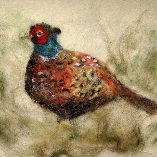 "Pheasant: Commission for a wedding anniversary. "" Looks great! Thanks so much Carol. It looks magnificent.. Please feel free to use the picture on your pages"" Neil  #needlefelt #pheasant #britishcountryside"